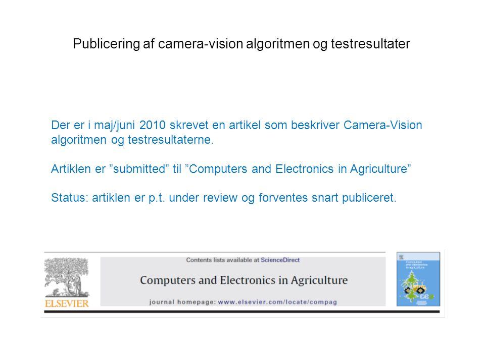 Publicering af camera-vision algoritmen og testresultater