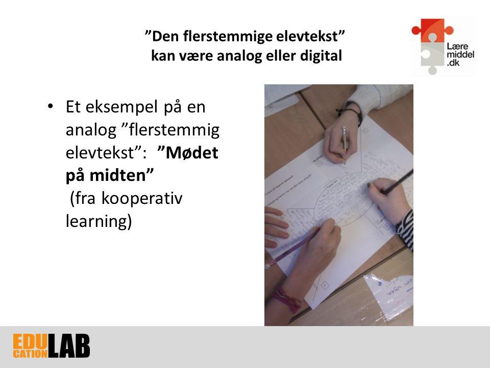 Den flerstemmige elevtekst kan være analog eller digital