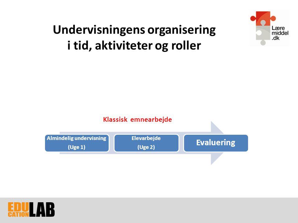 Undervisningens organisering i tid, aktiviteter og roller