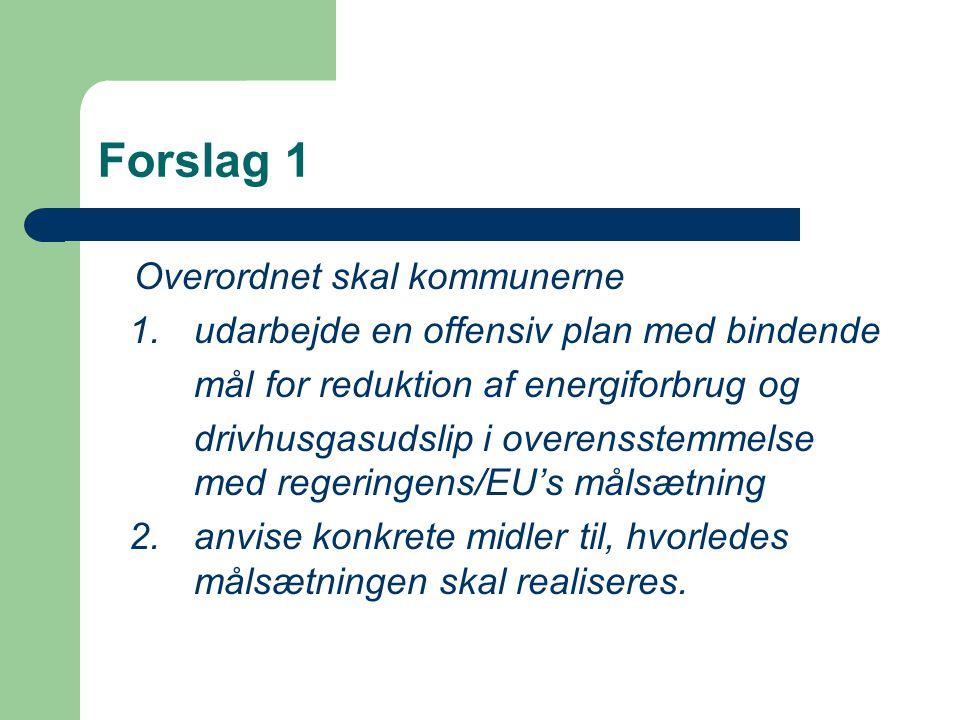 Forslag 1 Overordnet skal kommunerne