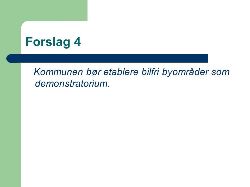 Forslag 4 Kommunen bør etablere bilfri byområder som demonstratorium.
