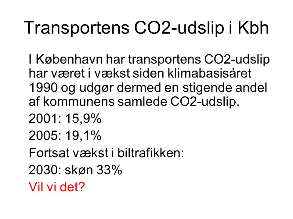 Transportens CO2-udslip i Kbh