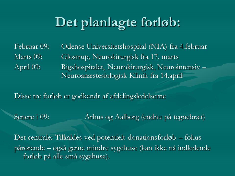 Det planlagte forløb: Februar 09: Odense Universitetshospital (NIA) fra 4.februar. Marts 09: Glostrup, Neurokirurgisk fra 17. marts.