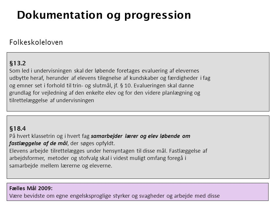 Dokumentation og progression