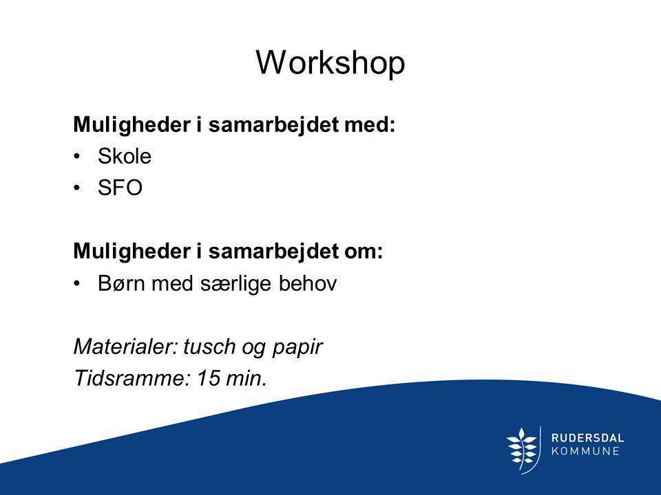 Workshop Muligheder i samarbejdet med: Skole SFO