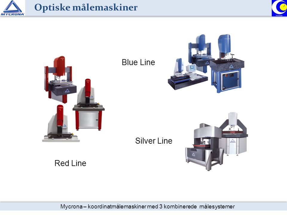 Optiske målemaskiner Mycrona basis program Blue Line Silver Line