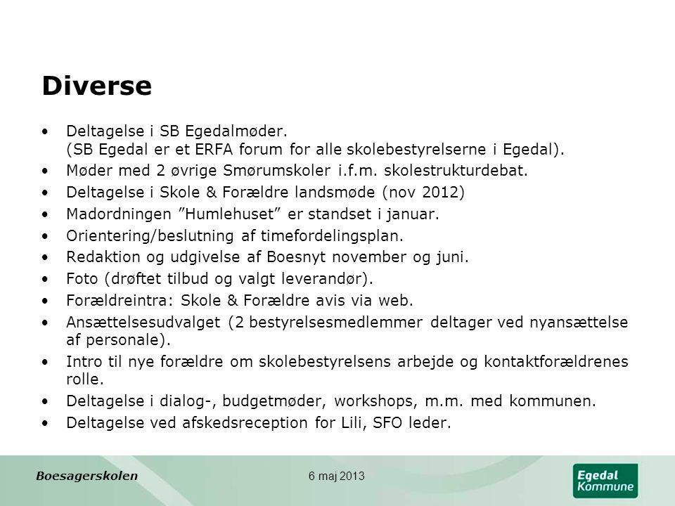 Diverse Deltagelse i SB Egedalmøder. (SB Egedal er et ERFA forum for alle skolebestyrelserne i Egedal).