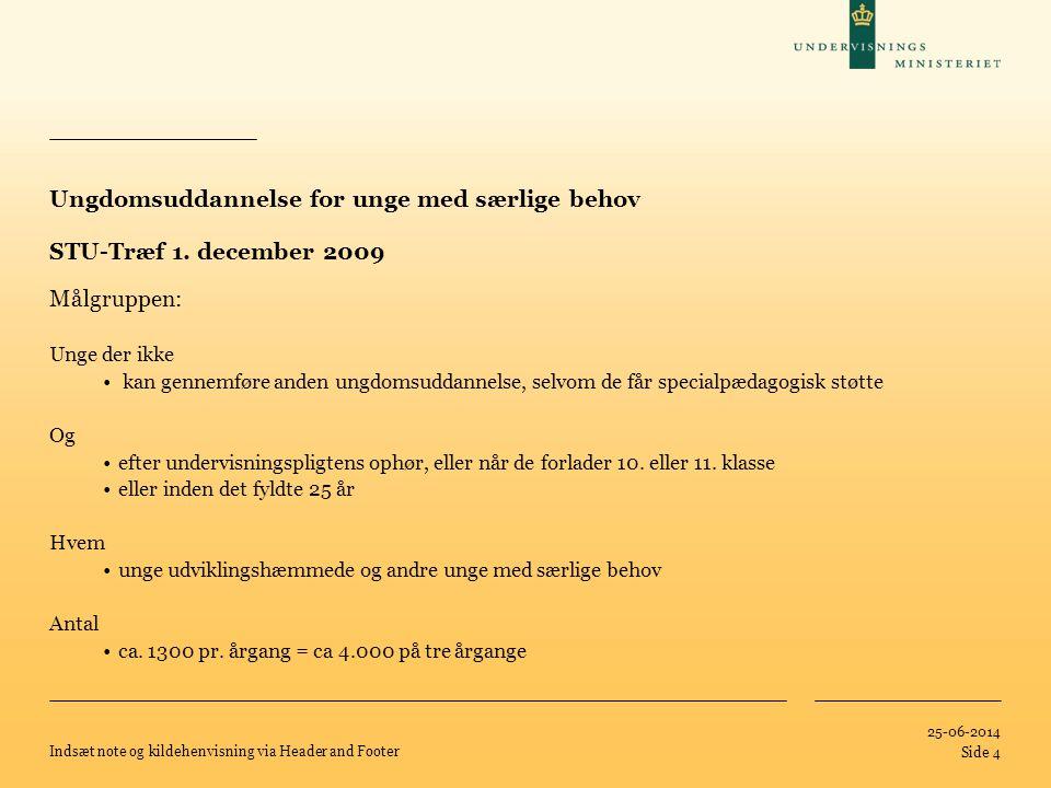 Ungdomsuddannelse for unge med særlige behov STU-Træf 1. december 2009