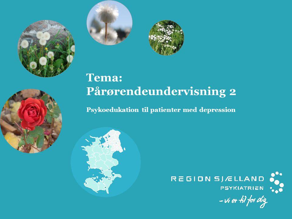 Tema: Pårørendeundervisning 2 Psykoedukation til patienter med depression