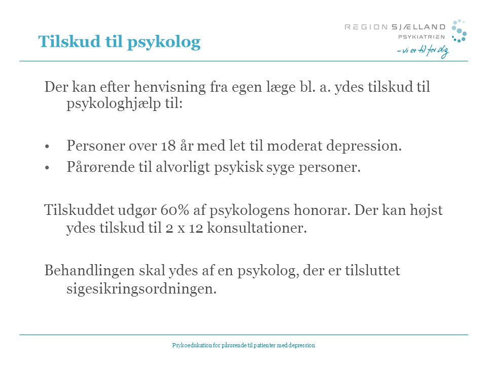 Psykoedukation for pårørende til patienter med depression