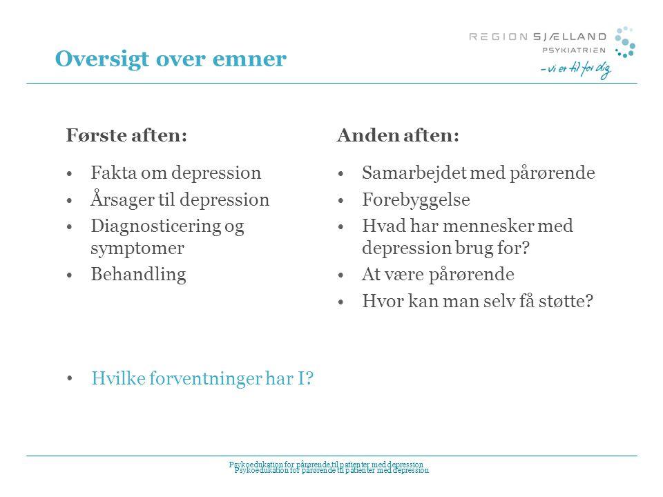 Oversigt over emner Første aften: Fakta om depression