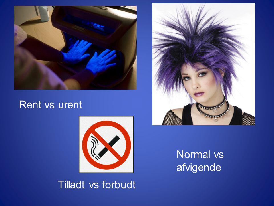 Rent vs urent Normal vs afvigende Tilladt vs forbudt