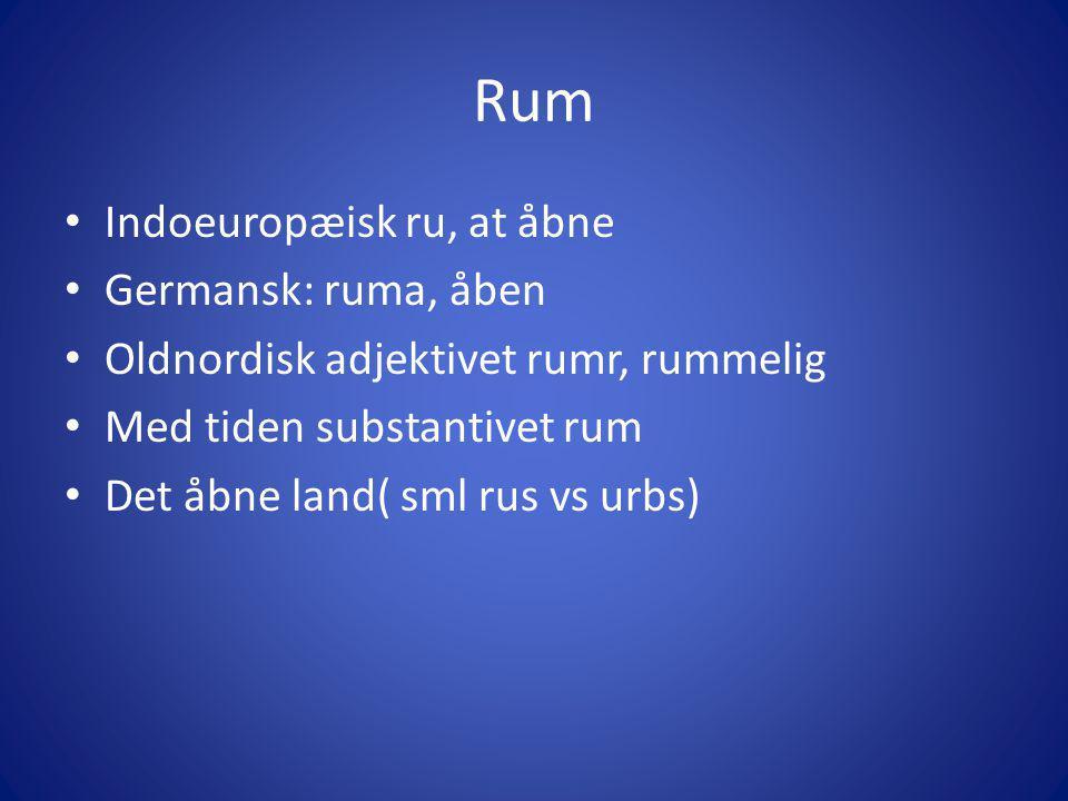 Rum Indoeuropæisk ru, at åbne Germansk: ruma, åben