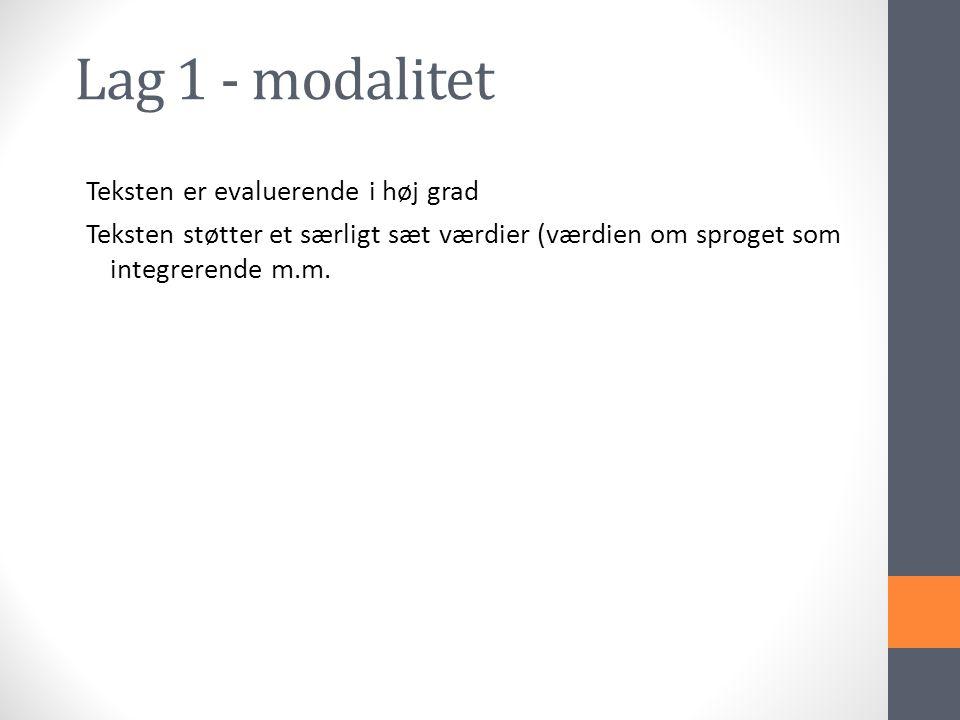 Lag 1 - modalitet Teksten er evaluerende i høj grad Teksten støtter et særligt sæt værdier (værdien om sproget som integrerende m.m.