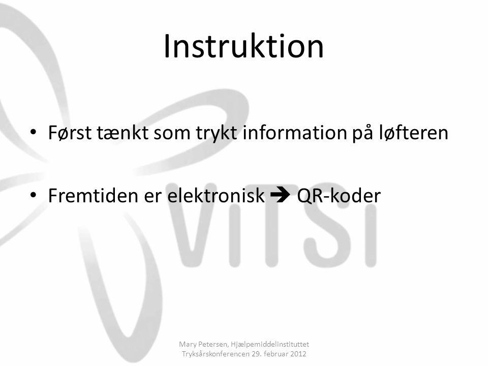 Instruktion Først tænkt som trykt information på løfteren