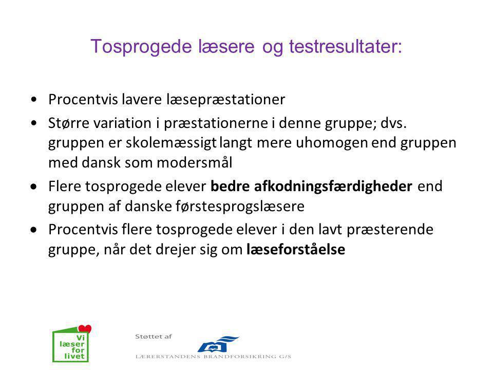 Tosprogede læsere og testresultater: