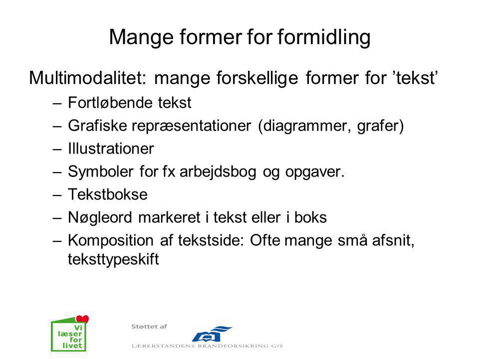 Mange former for formidling