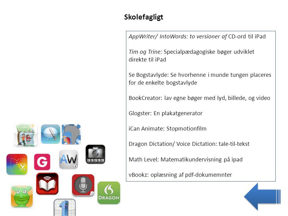 Skolefagligt AppWriter/ IntoWords: to versioner af CD-ord til iPad
