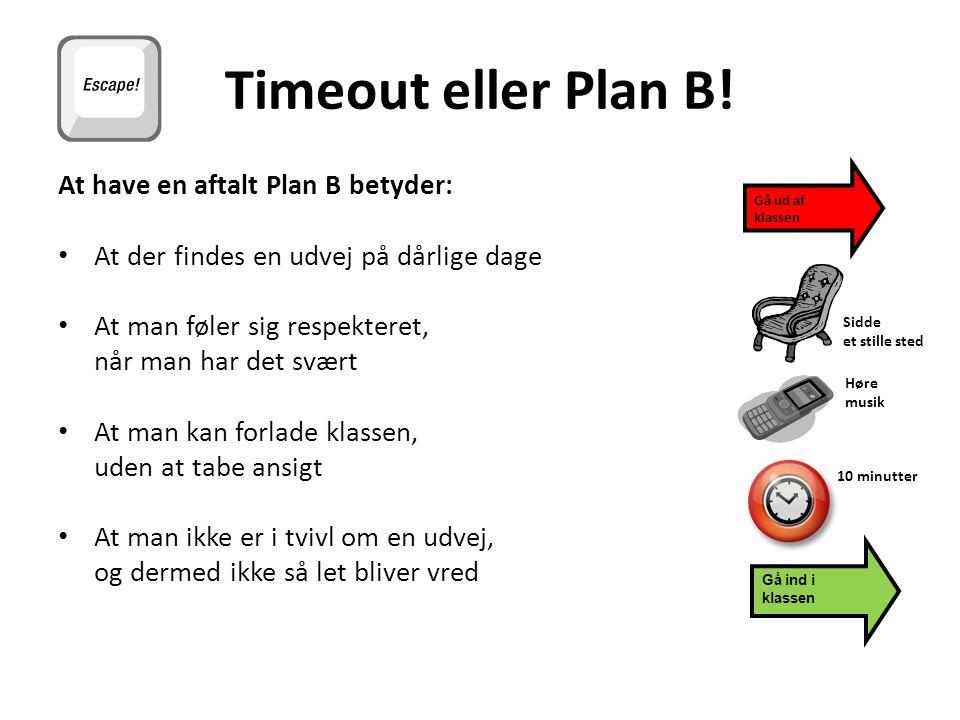 Timeout eller Plan B! At have en aftalt Plan B betyder: