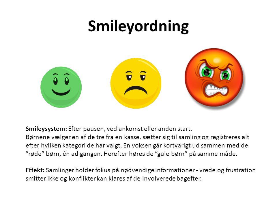 Smileyordning Smileysystem: Efter pausen, ved ankomst eller anden start.