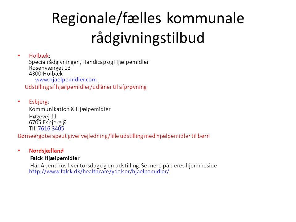 Regionale/fælles kommunale rådgivningstilbud
