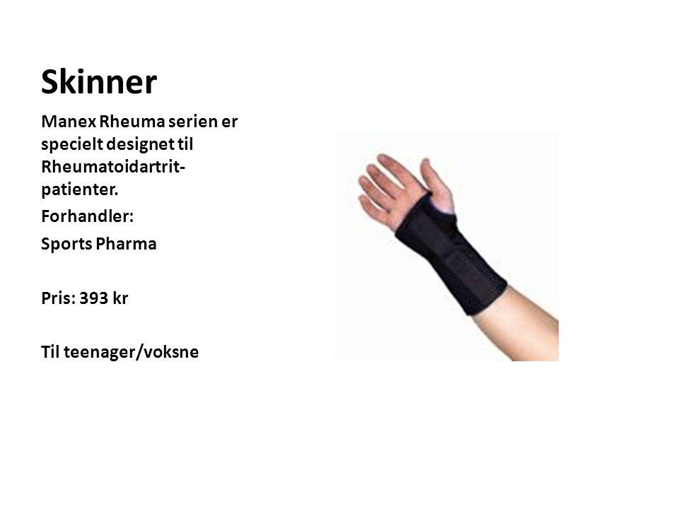 Skinner Manex Rheuma serien er specielt designet til Rheumatoidartrit-patienter. Forhandler: Sports Pharma.