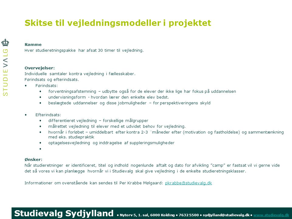 Skitse til vejledningsmodeller i projektet