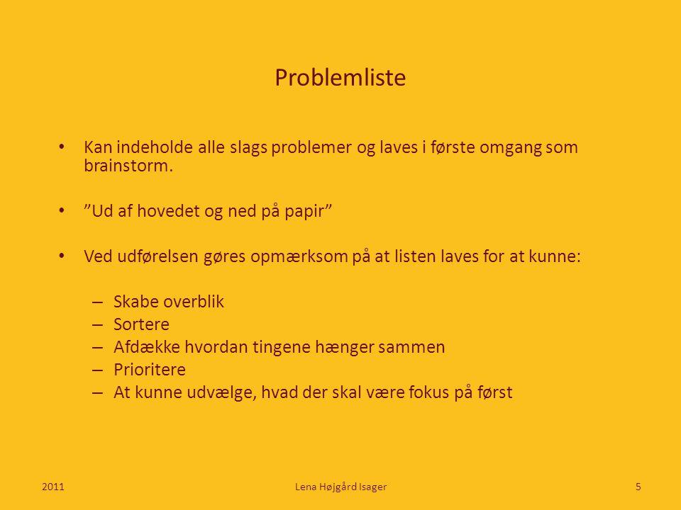Problemliste Kan indeholde alle slags problemer og laves i første omgang som brainstorm. Ud af hovedet og ned på papir
