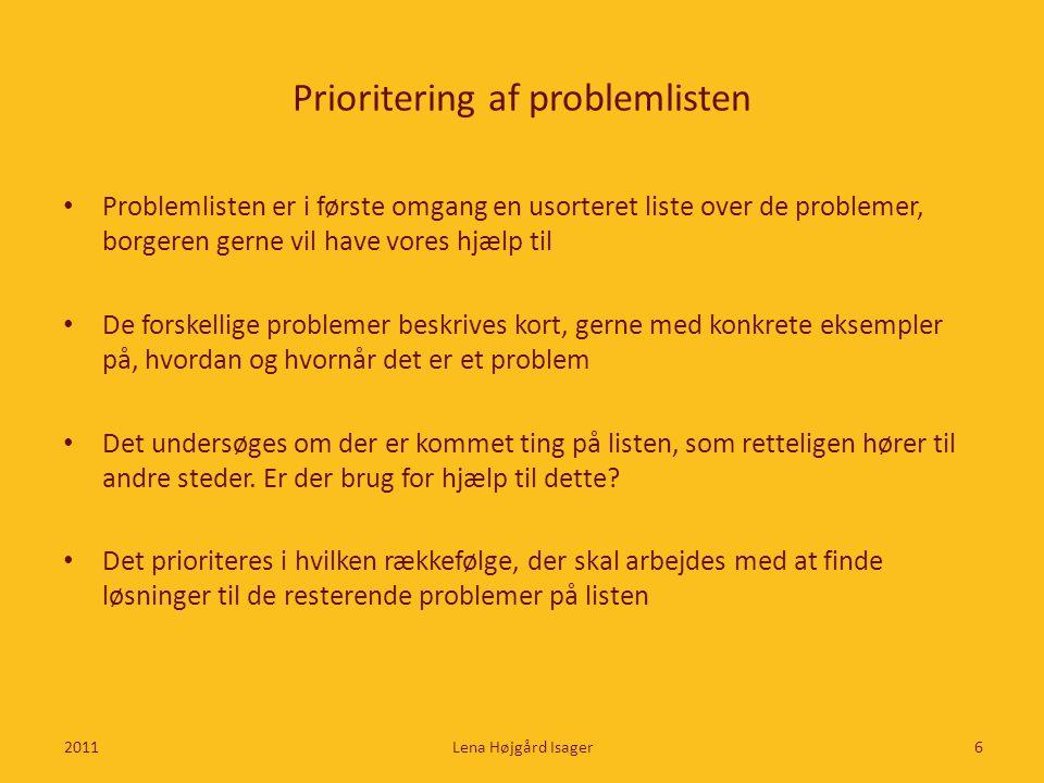 Prioritering af problemlisten