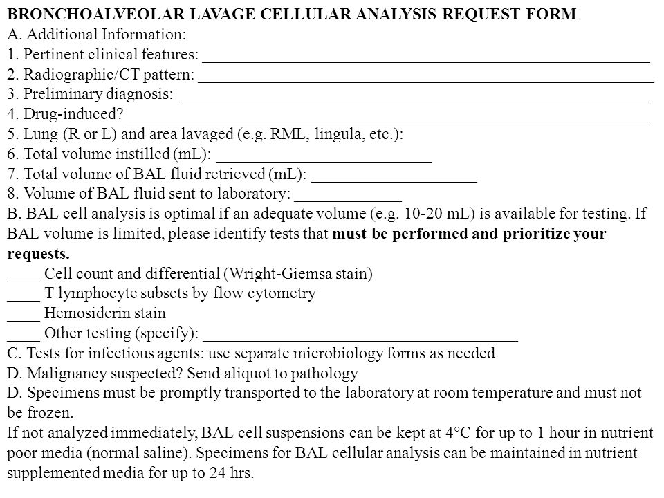 BRONCHOALVEOLAR LAVAGE CELLULAR ANALYSIS REQUEST FORM