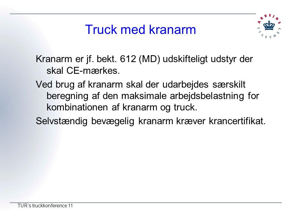 Truck med kranarm Kranarm er jf. bekt. 612 (MD) udskifteligt udstyr der skal CE-mærkes.