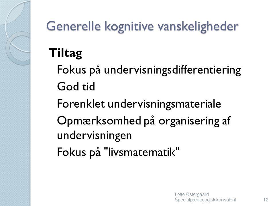 Generelle kognitive vanskeligheder