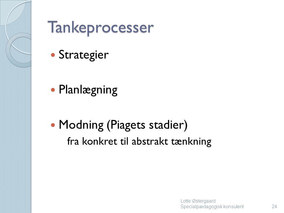 Tankeprocesser Strategier Planlægning Modning (Piagets stadier)