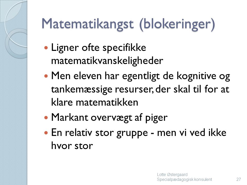 Matematikangst (blokeringer)
