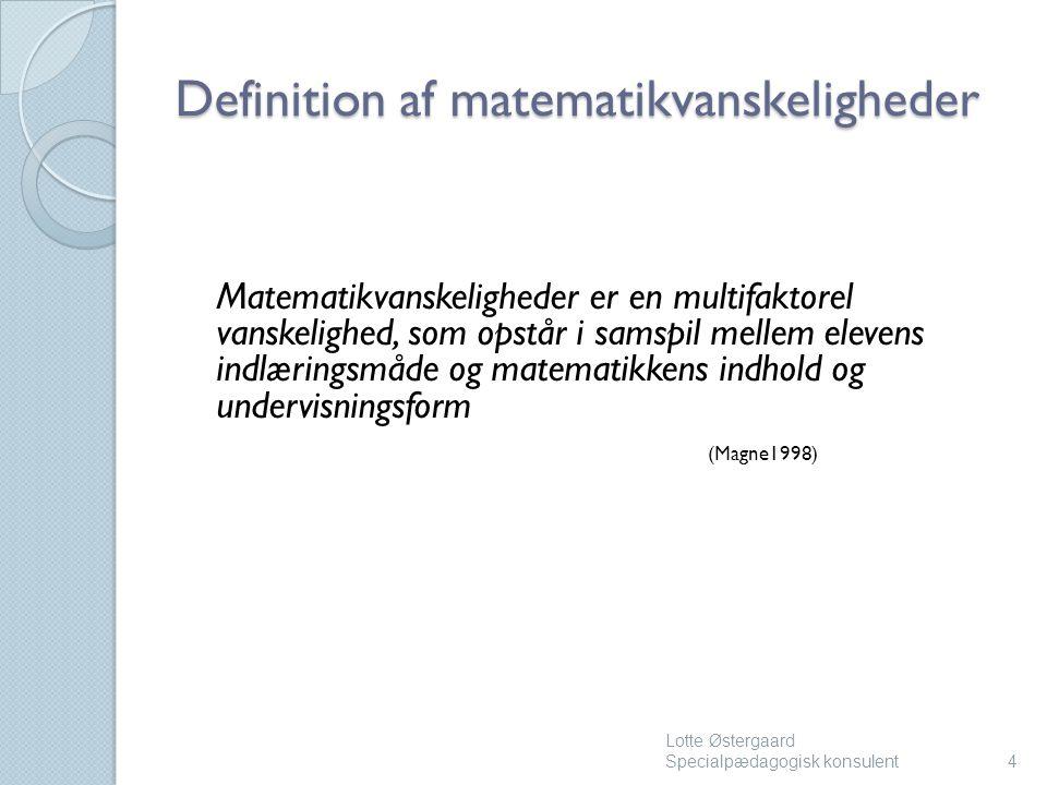 Definition af matematikvanskeligheder