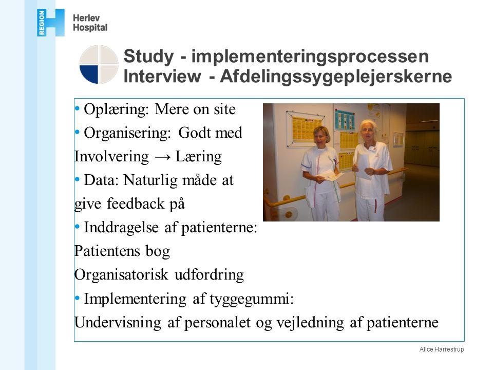 Study - implementeringsprocessen Interview - Afdelingssygeplejerskerne