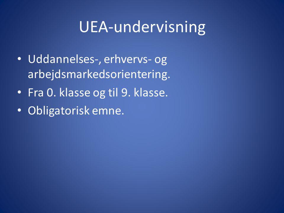 UEA-undervisning Uddannelses-, erhvervs- og arbejdsmarkedsorientering.