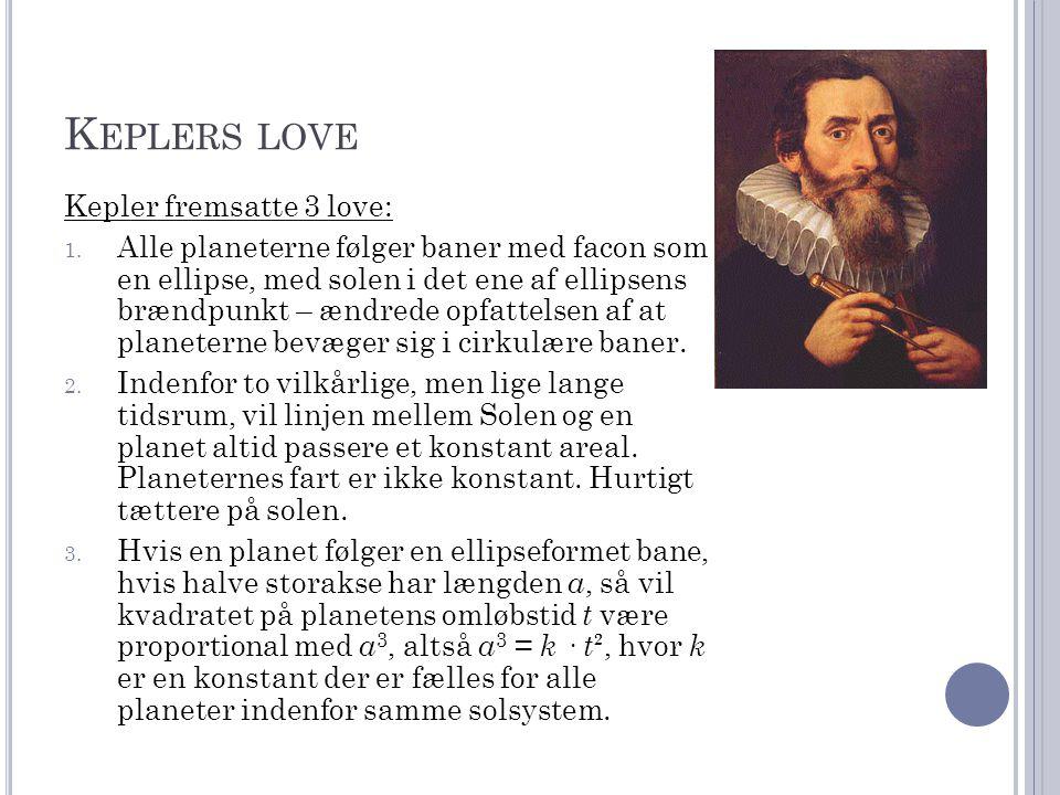 Keplers love Kepler fremsatte 3 love: