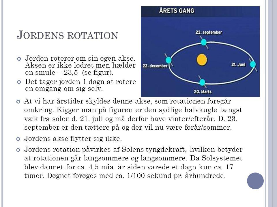 Jordens rotation Jorden roterer om sin egen akse. Aksen er ikke lodret men hælder en smule – 23,5 (se figur).