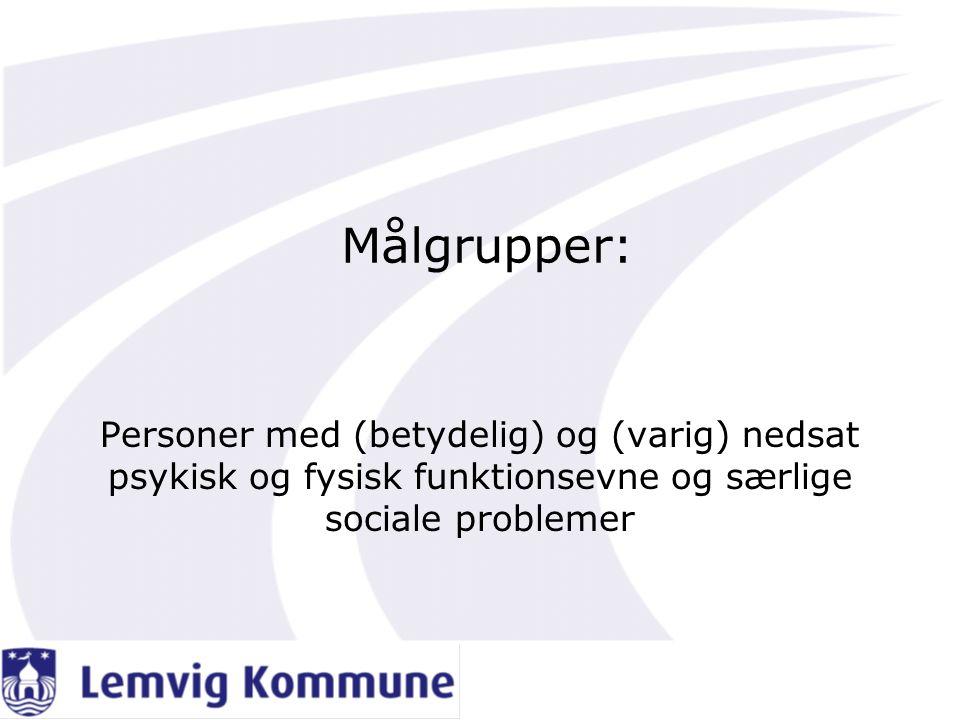 Målgrupper: Personer med (betydelig) og (varig) nedsat psykisk og fysisk funktionsevne og særlige sociale problemer.