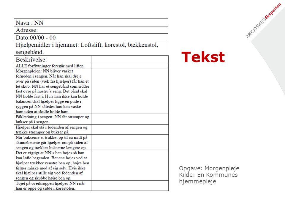 Tekst Opgave: Morgenpleje Kilde: En Kommunes hjemmepleje