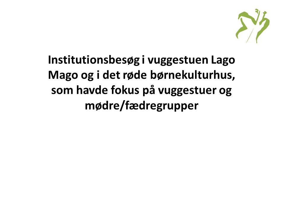 Institutionsbesøg i vuggestuen Lago Mago og i det røde børnekulturhus, som havde fokus på vuggestuer og mødre/fædregrupper