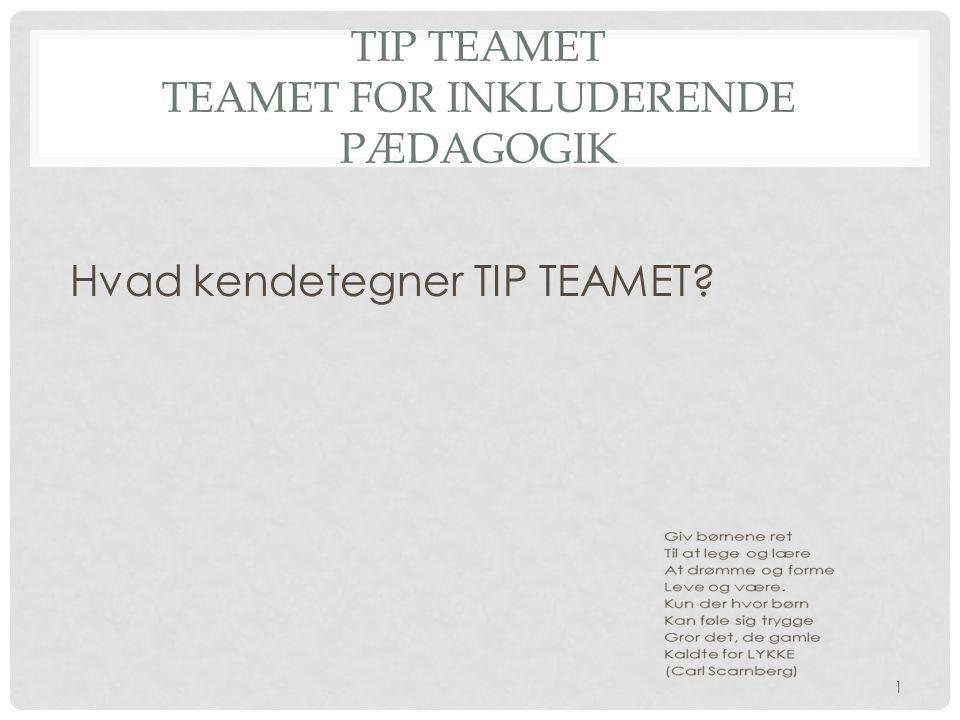 TIP TEAMET Teamet for inkluderende pædagogik