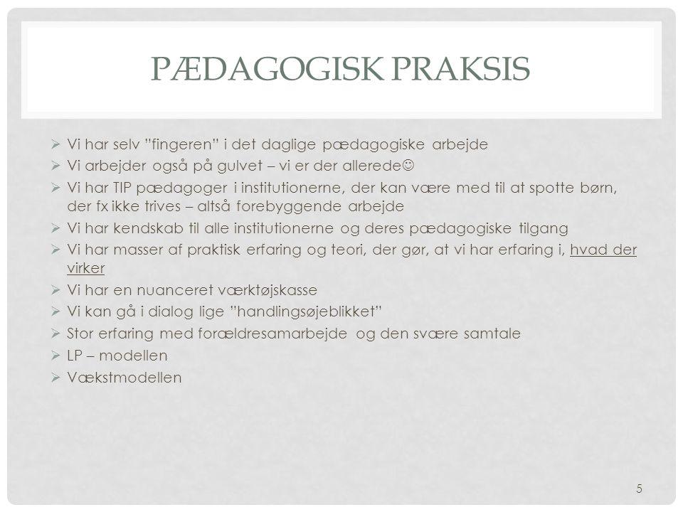 Pædagogisk praksis Vi har selv fingeren i det daglige pædagogiske arbejde. Vi arbejder også på gulvet – vi er der allerede