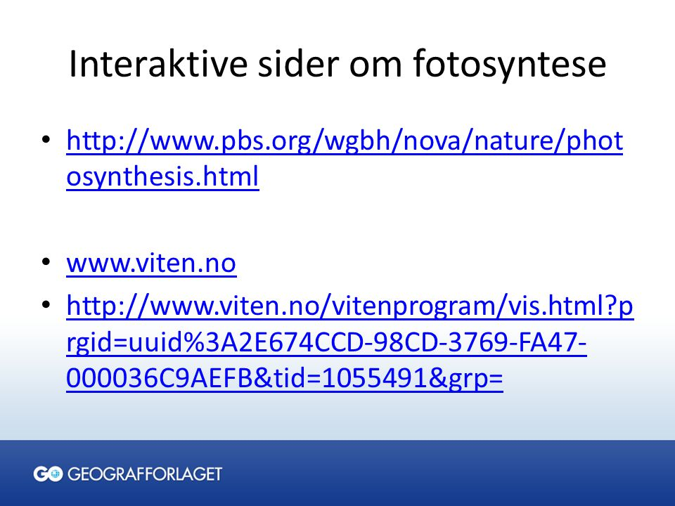 Interaktive sider om fotosyntese