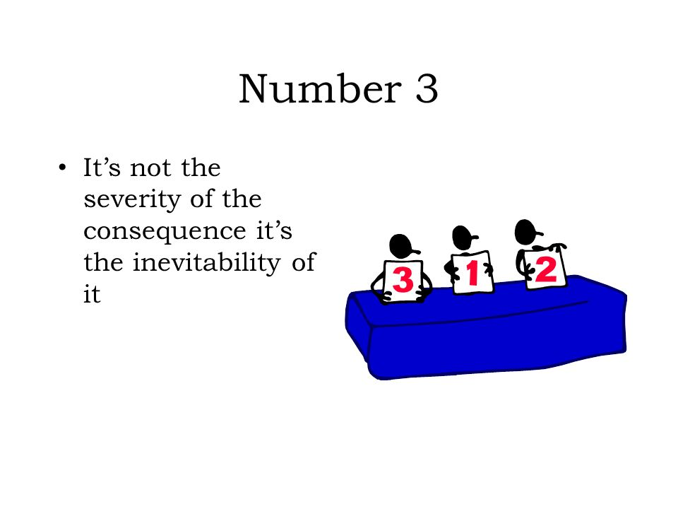 Number 3 It's not the severity of the consequence it's the inevitability of it