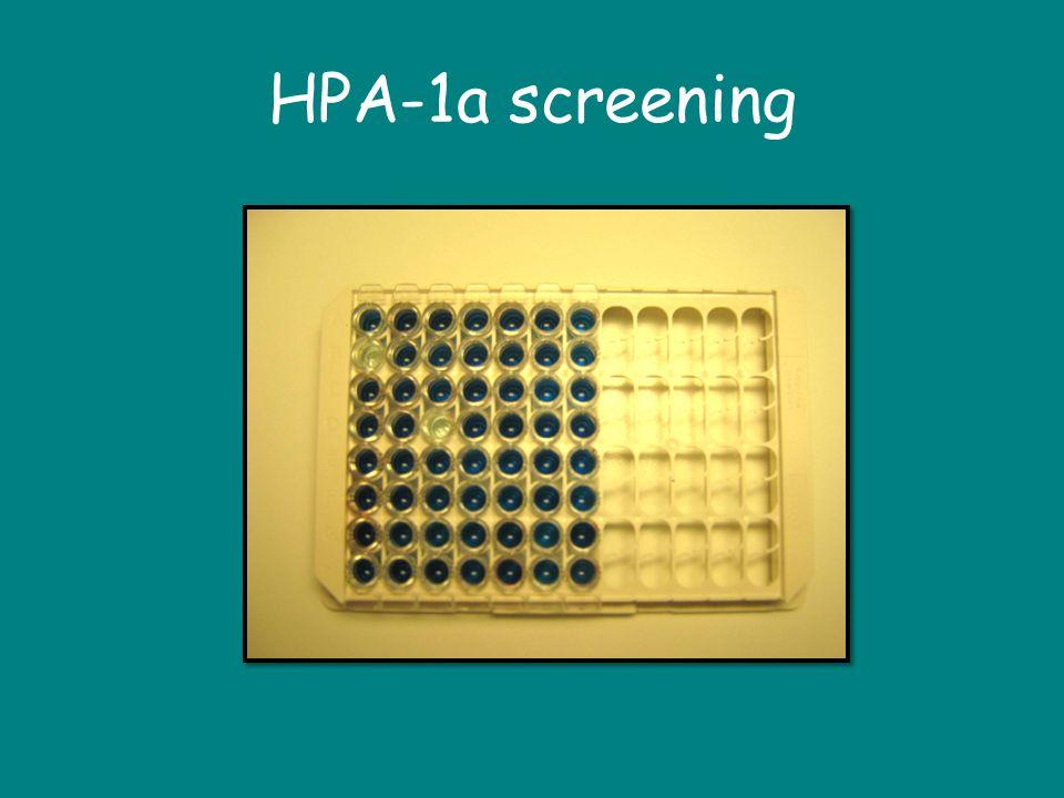 HPA-1a screening Stor farveforskel på positiv og negativ