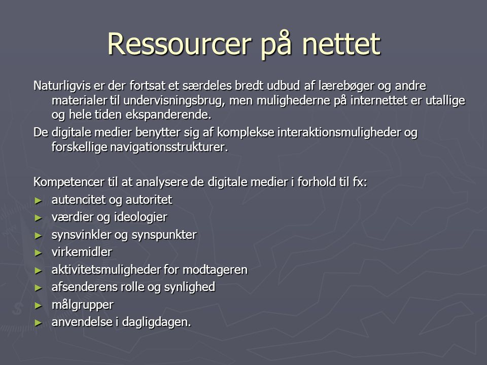 Ressourcer på nettet