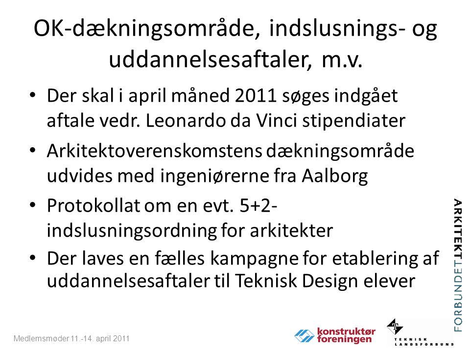 OK-dækningsområde, indslusnings- og uddannelsesaftaler, m.v.