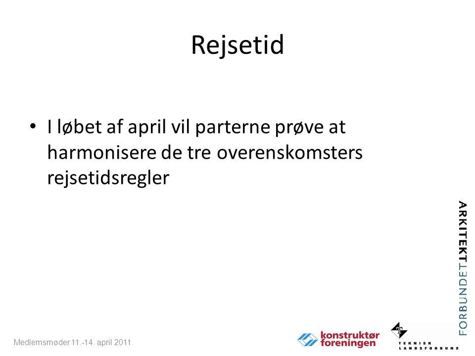 Rejsetid I løbet af april vil parterne prøve at harmonisere de tre overenskomsters rejsetidsregler